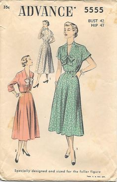 1950s Womens Dress with Bow and Jacket Advance 5555 Sewing Pattern, offered on Etsy  by GrandmaMadeWithLove