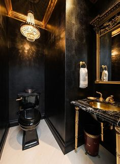 Decoration:Black Gold Decorating Ideas Bathroom With Black Toilet Luxury Pendant Light With Crystal Designs Elegant Bathroom With Black Gold Color Black Gold Vanity With Sink Ideas Wall Mirror Frame Decor Ideas Engaging Black Gold Decorating Ideas Gold Bad, Black And Gold Bathroom, Black Gold Bedroom, Black Bathroom Decor, Bathroom Lighting, Powder Room Decor, Powder Rooms, Powder Room Design, Black Toilet