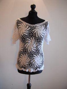 Hand crochet white tunics top blouse  size M-L