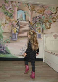 I really enjoy this design for these Fantasy Rooms, Fantasy Bedroom, Kids Room Murals, Murals For Kids, Room Wall Painting, Room Paint, Castle Mural, Mural Art, Wall Murals