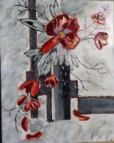 tableau abstrait fleurs coquelicots