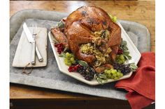 Cooking a turkey may be intimidating but cooking a brined, stuffed turkey seems overwhelming!  Your worries are over - we'll walk you through the process of brining your holiday turkey and turning it into a perfectly cooked roast turkey with savoury stuffing.