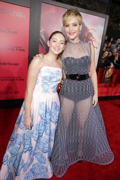 Willow Shields and Jennifer Lawrence at the premiere of The Hunger Games: Catching Fire at the Nokia Theatre in Los Angeles, CA on 11/18/13.
