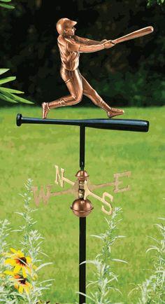 Polished Copper Baseball Player Weathervane