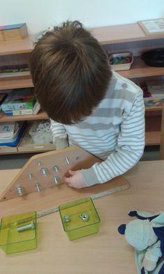 Nuts and Bolts board Montessori practical life activity for fine motor. Montessori Practical Life, Montessori Toddler, Montessori Activities, Motor Activities, Toddler Preschool, Toddler Activities, Physical Development, Fine Motor Skills, Pre School