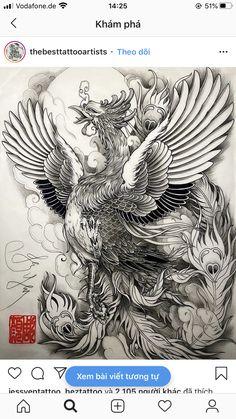Japanese Phoenix Tattoo, Japanese Dragon Tattoos, Japanese Tattoo Art, Japanese Tattoo Designs, Weird Tattoos, Body Art Tattoos, Arabic Tattoos, Dragon Tattoo Back Piece, Dragon Sleeve Tattoos