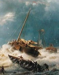 """Ships in a Storm on the Dutch Coast"", Andreas Achenbach The Wheelhouse, Ocean Storm, Sailboat, Short Stories, Dutch, Coast, Ships, Sea, Design"