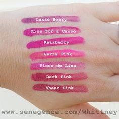 Swatches for Lexie Beary Lipsense, Kiss for a Cause Lipsense, Razzberry Lipsense, Party Pink Lipsense, Fleur de Lisa Lipsense, Dark Pink Lipsense, and Sheer Pink Lipsense Senegence Independent Distributor #186610