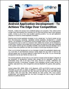 Android Application Development - To Achieve The Edge Over Competition