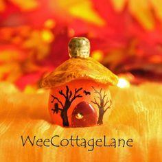 Halloween Birds House, Mini House, Tiny House, Ceramic House, Mini Cottage, Miniature Cottage, Wee Cottage Lane, Tiny Home, Miniature Home