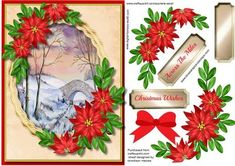 Beautiful Bridge in Winter with Poinsettias  on Craftsuprint designed by…