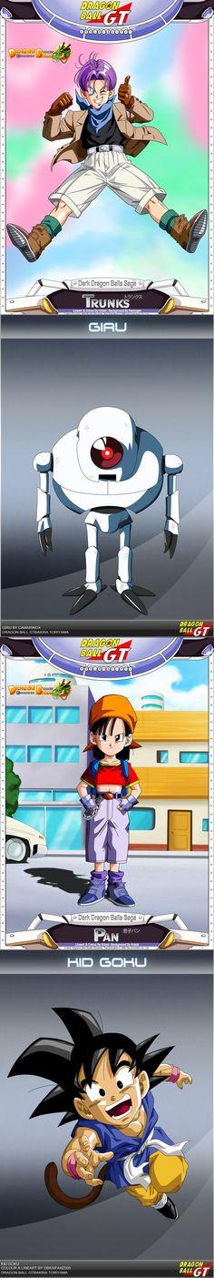 Our heroes in Dragon Ball GT: Trunks, Giru, Pan and Kid Goku.