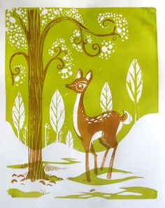 Snowbird Deer in the Early Spring Nature Silkscreen Print - green with brown ink - 15 in x 19 in. $30.00, via Etsy.