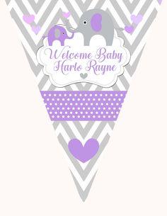 Elephant Banner, purple