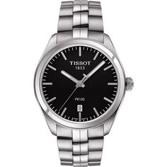 TISSOT T101.410.11.051.00 PR 100 stainless steel watch (1.130 RON) ❤ liked on Polyvore featuring jewelry, watches, stainless steel jewellery, black face watches, quartz movement watches, stainless steel watches and tissot