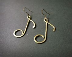 Note Earrings, Wire Wrapped Brass