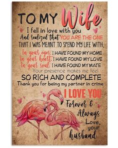 Perfect Gifts To My Husband Poster Love Quotes For Wife, I Love My Wife, True Love Quotes, To My Daughter, My Love, Great Gifts For Wife, Love Gifts, Pregnant Wife