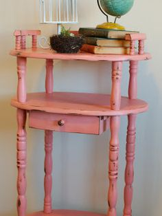 Coral Distressed Chalkpainted Table http://www.restorationredoux.com/?p=5