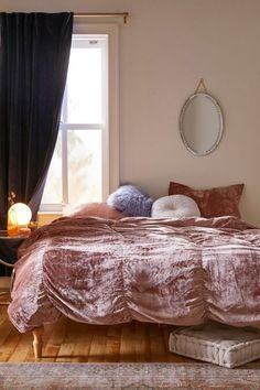 Skye Velvet Duvet Cover | Urban Outfitters Cotton Sheets, Cotton Duvet, Duvet Covers Urban Outfitters, Velvet Duvet, Home Decor Sale, Stylish Beds, Big Girl Rooms, Bed Sets, Duvet Insert