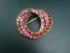 Vintage Pinks and Red Rhinestone Circle Brooch by LipstickLounge, $35.00