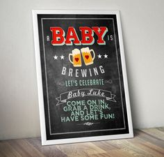 Party welcome sign Baby is brewing Coed baby shower by LyonsPrints