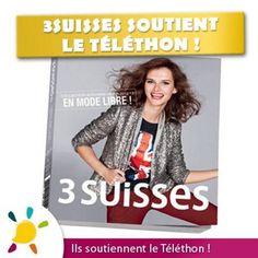 """Les 3 Suisses soutiennent le Téléthon 2012 !    3suisses.fr crée aussi son Téléthon en facilitant les achats de Noël des Personnes à mobilité réduite ! Les frais de livraison seront offerts avec le code avantage CHOUCHOU j'aime le Téléthon en 5 lettres """"JMTLT"""" pour soutenir les malades et les familles"""