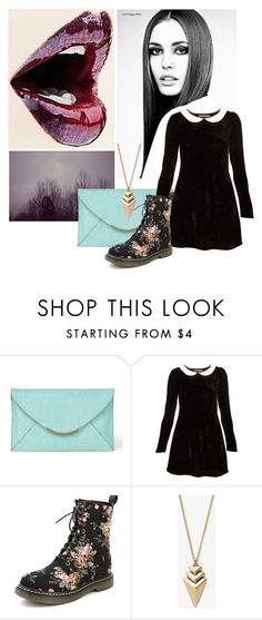 """""""plum party"""" by darling-dreamers ❤ liked on Polyvore featuring VC Signature, Oh My Love, Forever 21, peter pan collar, turquoise, little black dress, velvet dress, doc martens and plum"""