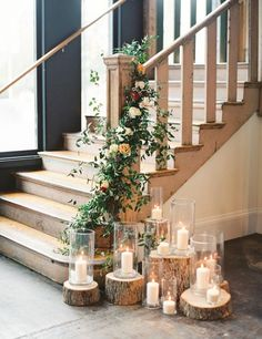 My reception venue features a huge staircasepossibility candlelight at base of stairway junglespirit Images