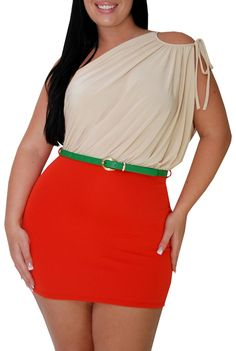 Reboot (Plus/Beige/Orange)-Great Glam is the web's best sexy plus size online store clothing website for 1X 2X and 3X clothes for women and juniors.