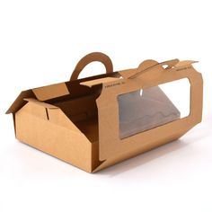 Kraft material Recyclable Re-usable Clear window in front for visibility Carries sandwich boxes, sold separately  Great for baked goods, cakes, and desserts as