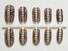 Nude, High Fashion, Aztec / Tribal Print Fake Nails with Gold Studs Nail Set