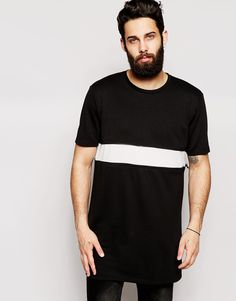 ASOS Longline T-Shirt With Woven Insert And Zip Extender