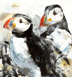 "Saatchi Online Artist: Lucy Newton; Other, Mixed Media ""Puffins"""
