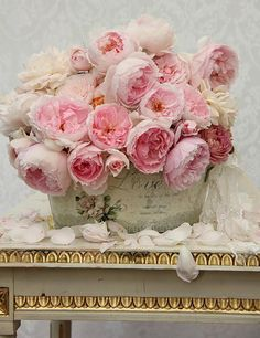Delicious pink flowers in a vintage bucket.