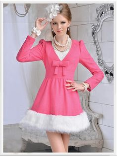 Morpheus Boutique  - Pink Velour V Neck Shoulder Bow Long Sleeve Lady Dress, $89.99 (http://www.morpheusboutique.com/pink-velour-v-neck-shoulder-bow-long-sleeve-lady-dress/)