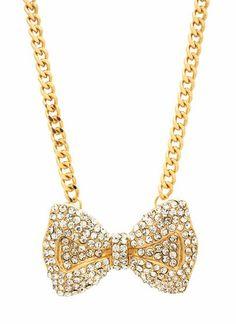 embellished-bow-necklace GOLD -