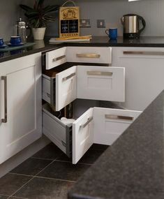 I need 3 of these! or 2 if I remove a cabinet. Small Kitchen Organizing Ideas - Corner Drawers - Click Pic for 42 DIY Kitchen Organization Ideas & Tips