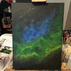 "7 Likes, 1 Comments - Jes J (@jesknits) on Instagram: ""I think this one already has a new home! #acrylicpainting #galaxyart #nebulaart #acrylicgalaxy…"""