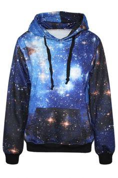 Mysterious Galaxy Print Women Long Sleeves Hoodie