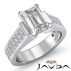 Solid Emerald Diamond Invisible Engagement Ring GIA I VS2 14k White Gold 3.25 ct #Javda #SolitairewithAccents