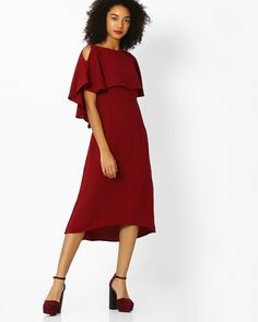 fef07d4d6ef6 Buy Femella Women Maroon Popover Dress with Cold-Shoulder Sleeves | AJIO