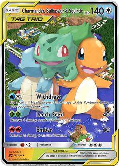 Charmander, Bulbasaur & Squirtle TAG TRIO Custom Pokemon Card Pokemon Dex, Lego Pokemon, Pokemon Bulbasaur, Pokemon Memes, Draw Pokemon, Charizard, All Pokemon Cards, Pokemon Cards Legendary, Pokemon Weaknesses