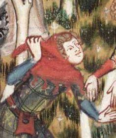 Romance of Alexander, 14th century. Man in plaid dress