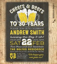 Cheers and beers to 30 years! Birthday invitation can be edited for all ages or used for a Surprise party too. https://www.etsy.com/shop/2birdstudios?ref=listing-shop2-all-items-count&section_id=11531016 for more awesome invitations .......................................................................................................  Hello!! We are Patricia & Patrick, husband & wife design duo that is the creative talent behind 2 Bird Studios. Contact us if your questions are not answered…