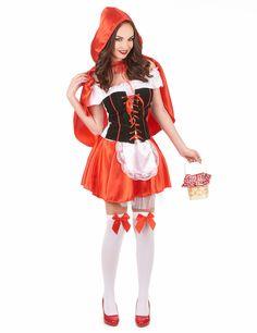 Rotkäppchenkostüm für Damen: Rotkäppchen Kostüm für Damen, bestehend aus Kleid, Umhang, Unterrock mit aufgenähter Schürze und einem Unterrock für mehr Volumen (Strumpfhosen, Schuhe und Korb nicht...