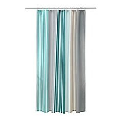 IKEA - BOLMÅN, Shower curtain, , Densely-woven polyester fabric with water-repellent coating.The elastic sewn into the bottom edge adds weight to the curtain and assures that it hangs straight.