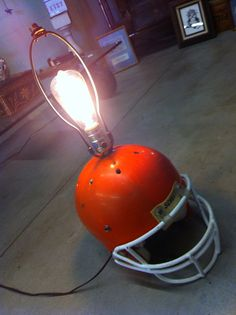 Upcycled 1960's Riddell Football Helmet Swag Light, Boy's Room ...