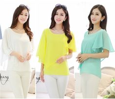 New Arrive New 2014 Summer Women Blouse Three Colors Batwing Half Sleeve Chiffon Shirt Tops For Women Free Shipping $13.45