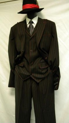 Sku#Re11 Pinstripe Zoot Suit  Black and Red Bold Chalk Gangster Stripe ~ Pinstripe 3 Piece $129