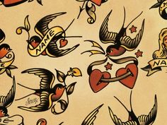 sailor jerry | December 6 Sailor Jerry Tattoo Flash Swallows Sparrows Navy Old School